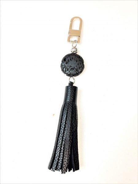 Bijou de sac cuir vachette grainé noir et pierre de lave