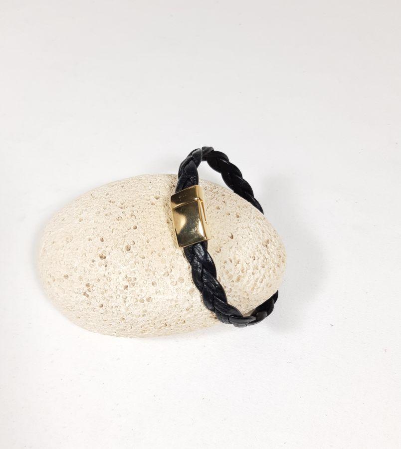 Bracelet cuir tressé vachette noir fermoir magnétique doré