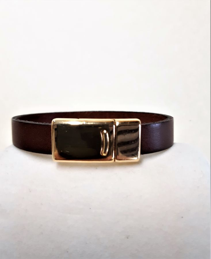 Bracelet cuir vachette marron fermoir magnétique