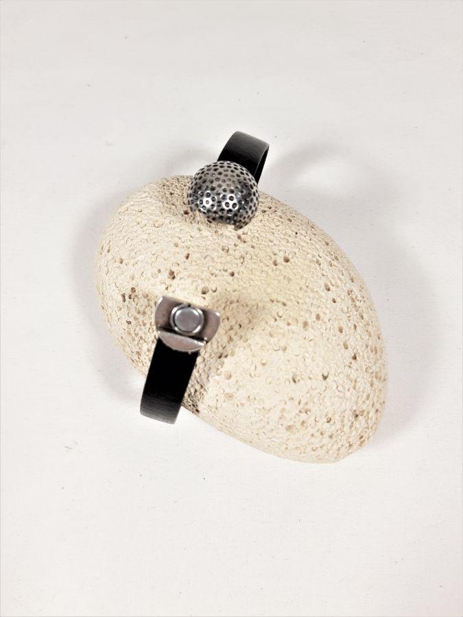 Bracelet cuir vachette noir fermoir magnétique balle de golf