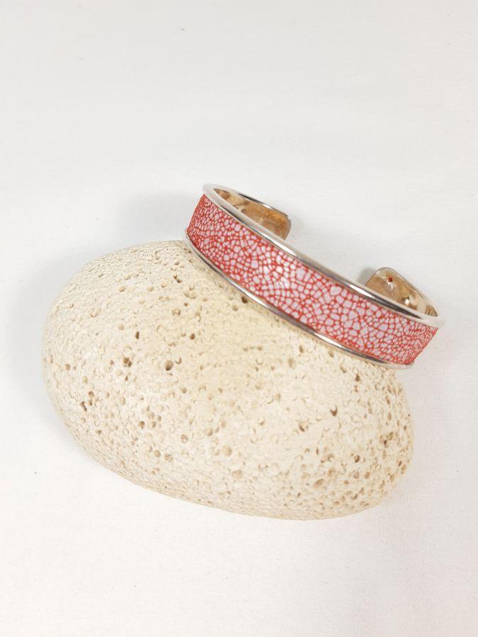 Bracelet jonc et cuir d'agneau rouge et blanc