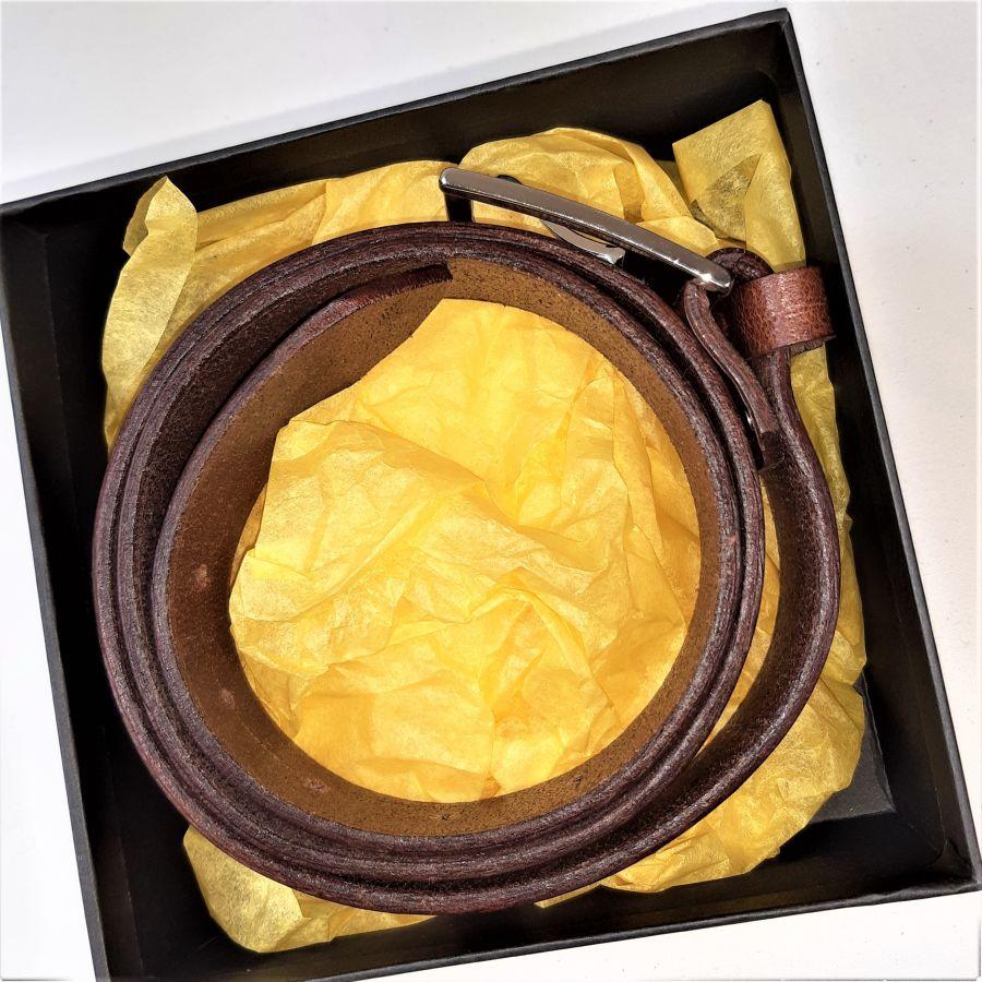 Ceinture cuir vachette tannage végétal coloris chocolat