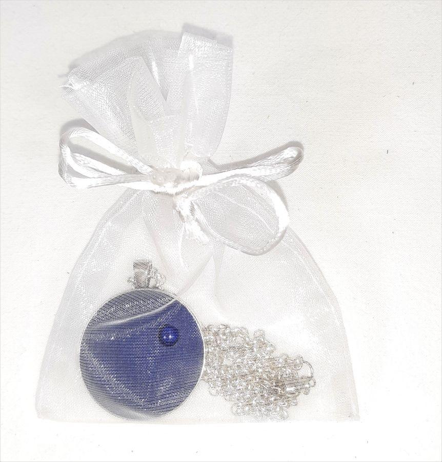 Pendentif laiton et cuir bleu, cabochon pierre naturelle lapis lazuli.