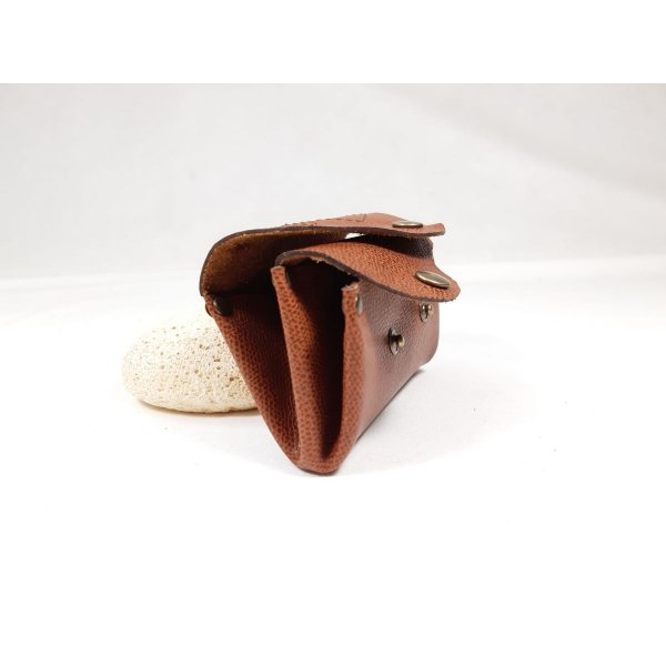 Porte-monnaie rétro cuir de vachette grainé coloris noisette