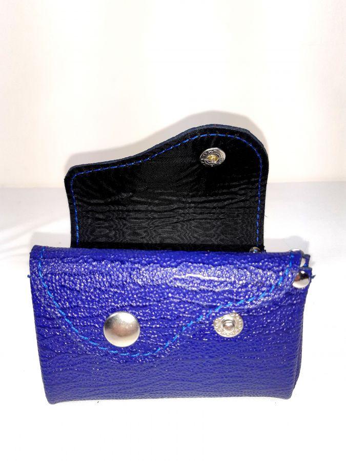 Porte-monnaie rétro bleu marine croûte de cuir.