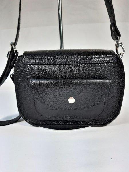 Sac bandoulière cuir vachette,fabrication artisanale coloris noir