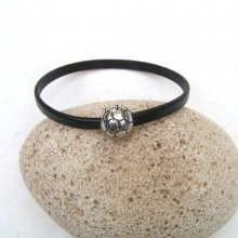 St Valentin!Bracelet cuir vachette noir fermoir magnétique ballon de foot.
