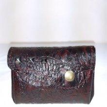 Porte-monnaie rétro cuir agneau imprimé façon croco croco
